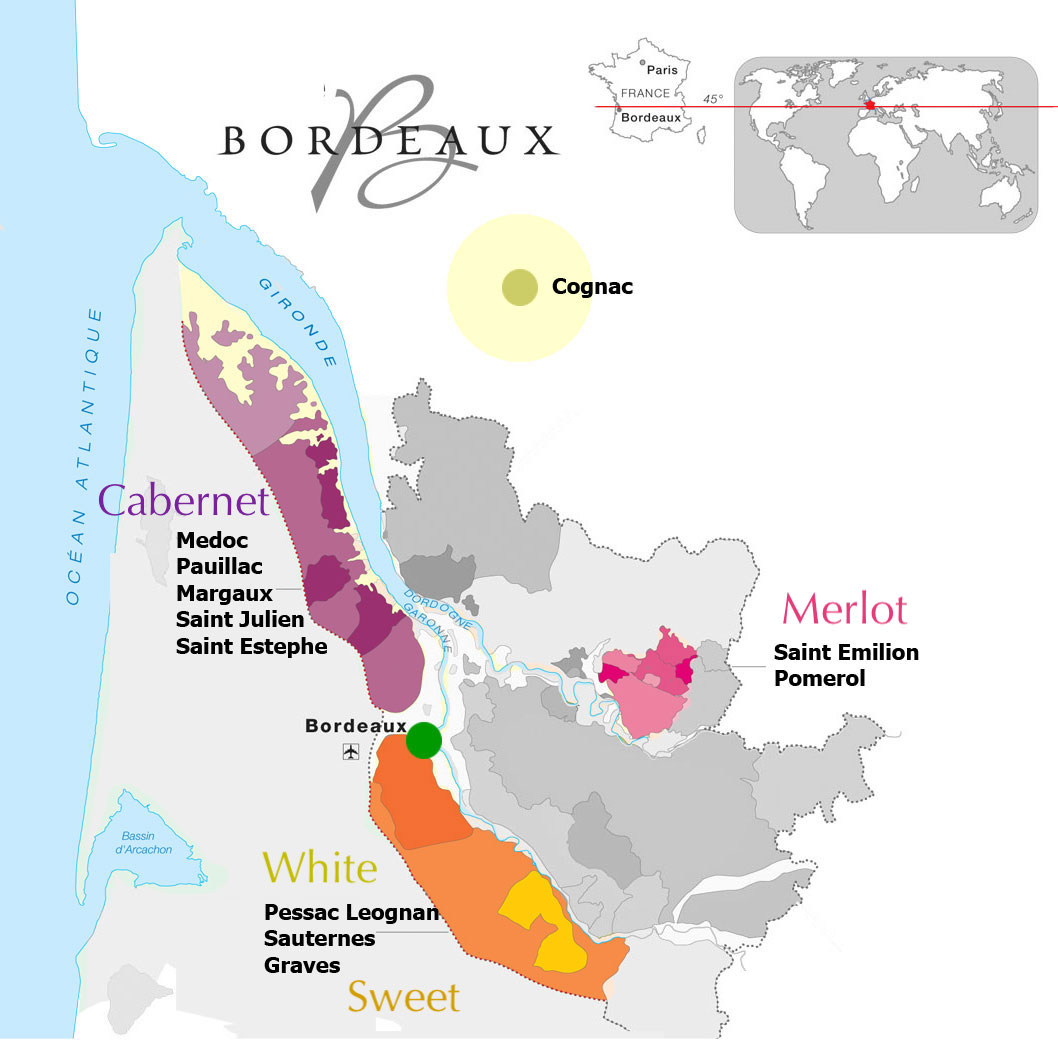 Bordeaux vineyards map