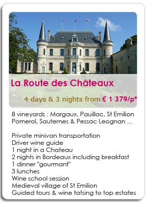 4 days wine tour in Bordeaux including Medoc, St Emilion and Sauternes regions